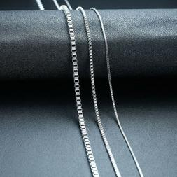 1 2 3MM Box Chain Link Men Necklace Charm Choker Stainless S
