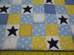 1 yard 18 inch cut- Patchwork Star Blue Yellow White Flannel