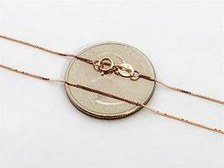 """10K 18"""" Inch Solid Rose Gold Thin BOX Necklace Chain .5mm 10"""