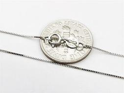 """10K 18"""" Inch Solid White Gold Thin BOX Necklace Chain .5mm 1"""