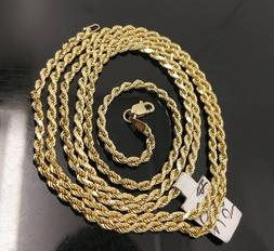 10K Gold Chain Solid Men Women Real Rope 3mm 18 20 22 24 26