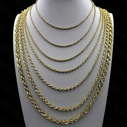 Real 10K Yellow Gold 2mm - 6mm Diamond Cut Rope Chain Pendan
