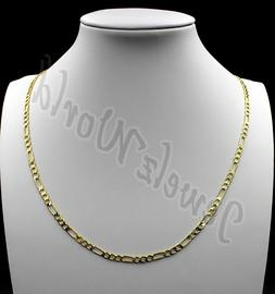 """10K Solid Yellow Gold Figaro Chain Link Pendant Necklace 16"""""""