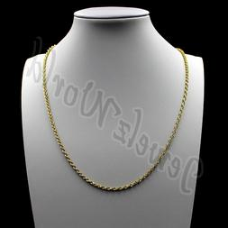 """10K Solid Yellow Gold Rope Chain Diamond Cut 16"""" 18"""" 20"""" 22"""""""