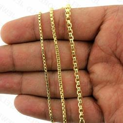 10K Yellow Solid Gold Round Box Chain Necklace 2.0mm, 2.5mm