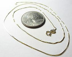 10Kt Pure Solid Gold 18 inch small .45MM BOX Chain, Gift Box
