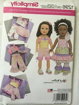 Simplicity 1296  18 inch Doll Clothes Pattern UNCUT Dress/Sk