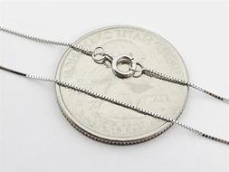 """14K 18"""" Inch Solid White Gold Thin BOX Necklace Chain .5mm 1"""