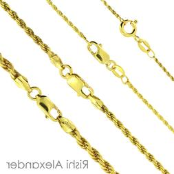 14K Gold over 925 Sterling Silver Diamond Cut Rope Chain Nec