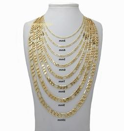 14k Italian Figaro Link Chain Necklace 3mm to 10mm Gold Plat