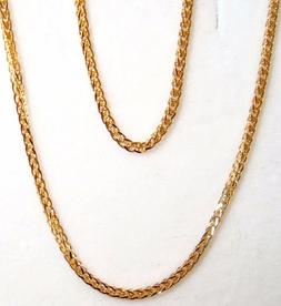 10k solid yellow gold Square wheat chain