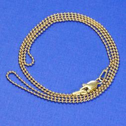 14K SOLID YELLOW GOLD Beaded Ball Chain Necklace 18 inch Len