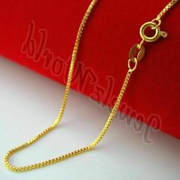 """14K Solid Yellow Gold Box Necklace Real Gold Chain 16"""" 18"""" 2"""