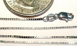 14kt Pure Solid White Gold 18 inch .8MM BOX CHAIN Lobster Lo