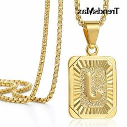 """18""""-30"""" Womens Mens Gold Filled A-Z Initial Necklace Letter"""