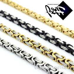 "18-40""MEN Stainless Steel 4/6/9mm Silver/Gold/Black Byzantin"