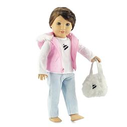 18 Inch Doll Clothes Pink Puffy Hooded Vest with Fur Trim |