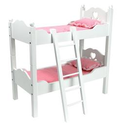 18 Inch Doll Furniture, Bunk Bed in White Cutout Design, Lad