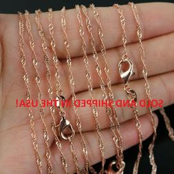 "18"" Inch 18k Rose Gold Plated Water Waive Chain Necklace - 2"