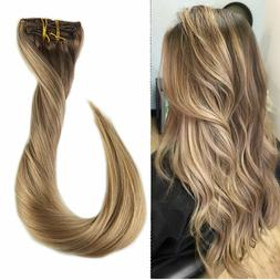 Full Shine 18 inch 9Pcs Clip in Hair Extensions Color #10/16