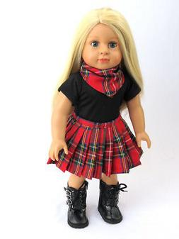 For 18 Inch American Girl Doll Clothes Plaid Skirt Set Red &