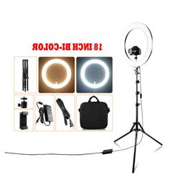 "18"" inch Bi-Color LED Ring Light Dimmable Continuous Lightin"
