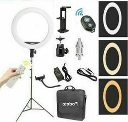 "Fodoto 18"" inch BiColor LED Ring Light Kit with Stand Social"