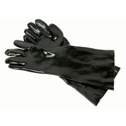 18 INCH BLACK ELBOW LENGTH GAUNTLET GLOVES WITH FABRIC LINER
