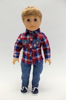 18 Inch Boy Doll Outfit Plaid Shirt and Jeans Set