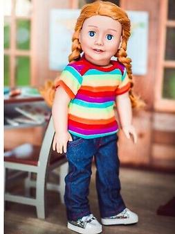 18 Inch Doll Clothes DENIM JEANS & RAINBOW TEE SHIRT Fits Am