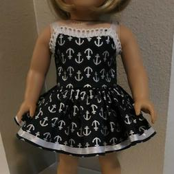 18 inch DOLL CLOTHES~  PARTY DRESS ~ ANCHORS ~ SUMMER DRESS