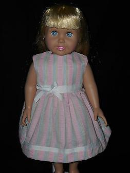 American Girl 18 inch Doll Dress Handmade Pink Stripe