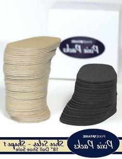 18 Inch Doll Pre-cut Shoe Soles SHAPE 1 Black 2mm Foam and C