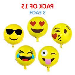18 inch Emoji Face Mylar Balloon for Birthday Party Holiday