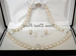 "18"" Inch Genuine ROUND 9-10mm White Pearl Necklace Earrings"
