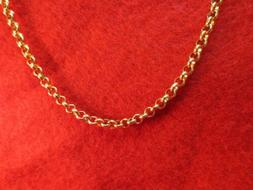 18 INCH GOLD STAINLESS STEEL 4MM ROLO LINK ROPE CHAIN NECKLA