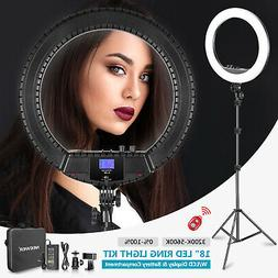 18-inch LED Ring Light with LCD Display and Battery Holder,