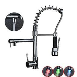 18-inch LED Sprayer Kitchen Sink Faucet Pull Down Spring Sin