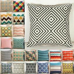 18 Inch Linen Boho Geometric Cushion Cover Throw Pillowcase