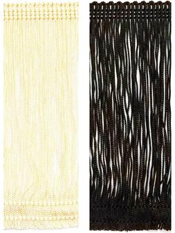 18 inch Rayon Chainette Fringe Trim By the yard in Black or