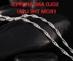 """18"""" Inch Silver Plated Wave Chain Necklace - 2.0g - From USA"""