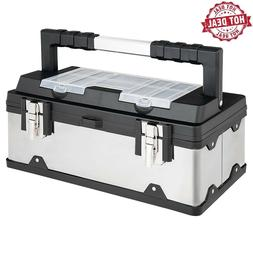 Costway 18 Inch Tool Box Stainless Steel and Plastic Portabl