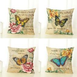 18 X 18 Inch Colorful Butterfly Home Decorative Throw Pillow