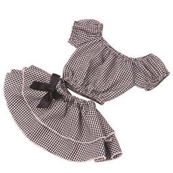 18inch Handmade Checked Top T-shirt Skirt Set American Doll