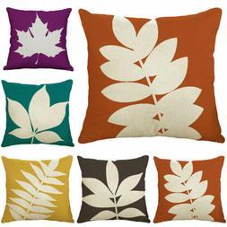 18inch Pure Color Plants Cotton Linen Pillow Case Waist Cush