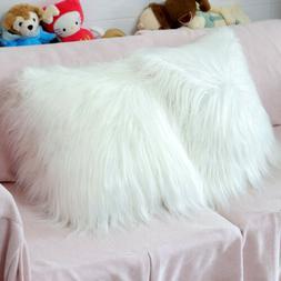 18Inch White Fur Throw Pillow Case Super soft Sofa Cushion C