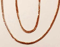 18k solid rose goldsquare wheat chain