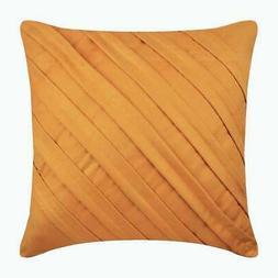 18x18 inch Pillow Mustard Yellow Handmade Suede - Contempora