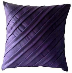 18x18 inch Purple Pillow Cover Decorative Suede, Pintuck - C