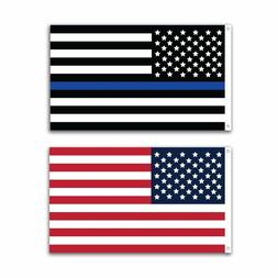 2 Pack Police Thin Blue Line and U.S. American Flag 12x18 in
